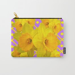 Yellow & Fuchsia Round Pattern Daffodils Carry-All Pouch