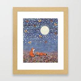 moonlit foxes Framed Art Print