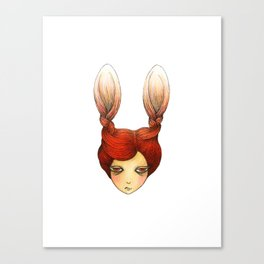 the girl with rabbit hair Canvas Print