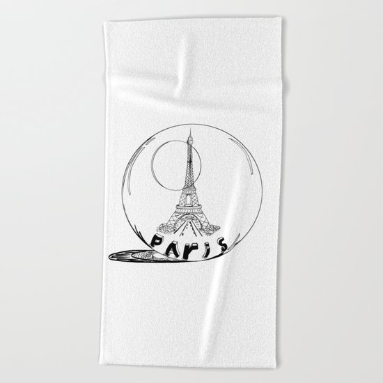 paris in a glass ball Beach Towel