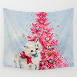 Retro Christmas, Vintage Christmas Kitten Wall Tapestry