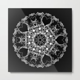Mandala Project 215 | White on Black Metal Print