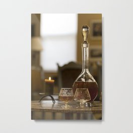 Crystal Decanter and Glasses Metal Print