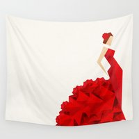 dancer Wall Tapestries featuring The Dancer (Flamenco) by VessDSign