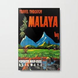Travel through Malaya 1948 Vintage Travel Poster Metal Print
