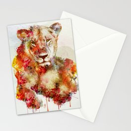 Resting Lioness Watercolor Painting Stationery Cards