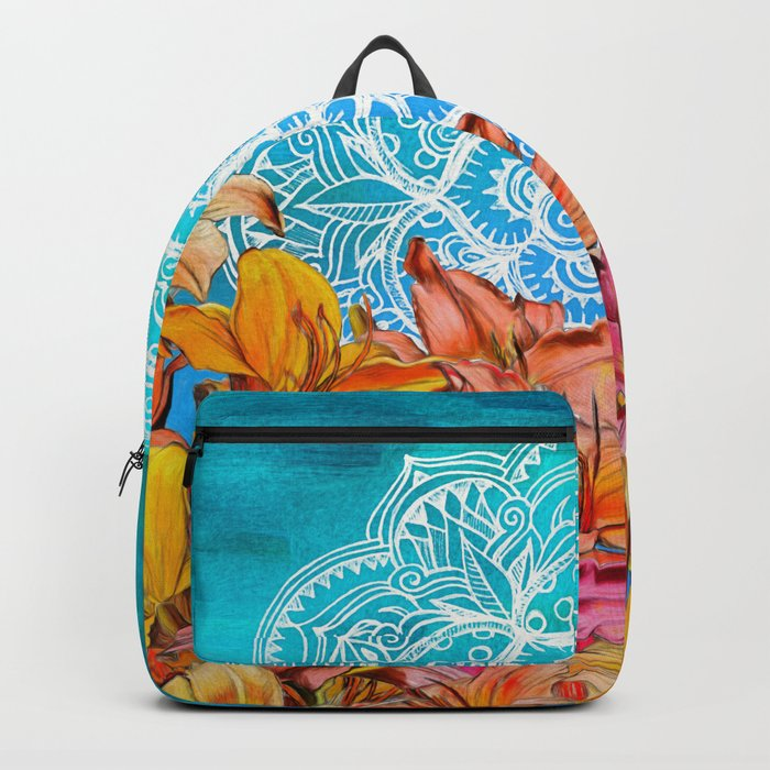 Orange Lilies & White Mandala on Blue Backpack