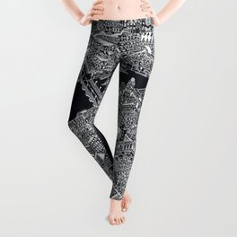 London map black and white Leggings