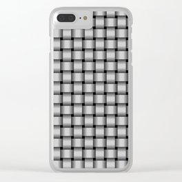 Small Light Gray Weave Clear iPhone Case