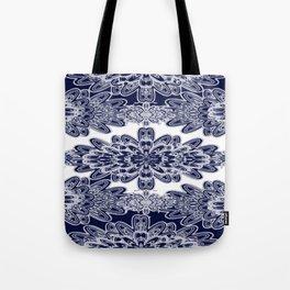 Blue Floral Damask Tote Bag