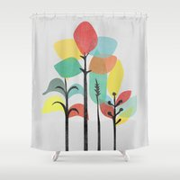 gray Shower Curtains featuring Tropical Groove (gray) by Picomodi