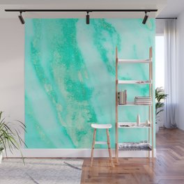 Shimmery Sea Green Turquoise Marble Metallic Wall Mural
