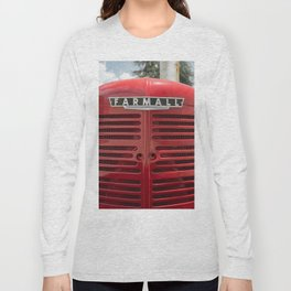 Vintage Farmall M Grill Antique Red Tractor Long Sleeve T-shirt