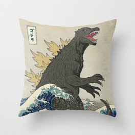 The Great Godzilla off Kanagawa Throw Pillow