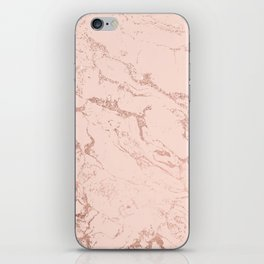 Modern rose gold glitter ombre foil blush pink marble pattern iPhone Skin
