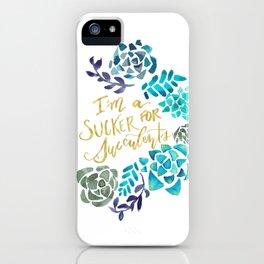 Sucker for Succulents (Blue Palette) iPhone Case