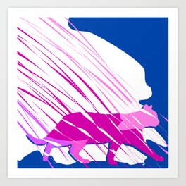 Pink Kitty Cat Strutting In Blue Fog Abstract Art Art Print