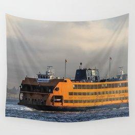 Big Orange Boat Wall Tapestry