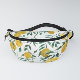 watercoor yellow lemon pattern Fanny Pack