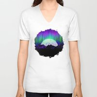 northern lights V-neck T-shirts featuring Under the Northern Lights by Noonday Design