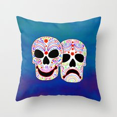Comedy-Tragedy Colorful Sugar Skulls Throw Pillow