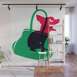 Angry animals: chihuahua - little green bag Wall Mural