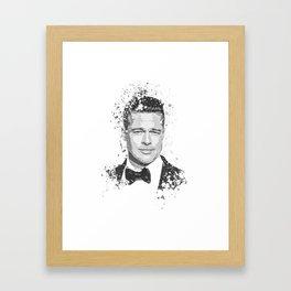 Brad Pitt splatter painting Framed Art Print
