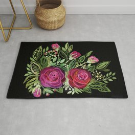 Rustic patchwork watercolor roses on black Rug