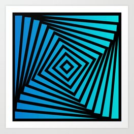 Squares twirling from the Center. Optical Illusion of Perspective bu Squares twirling Art Print
