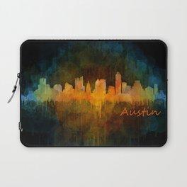 Austin Texas, City Skyline, watercolor  Cityscape Hq v4 Dark Laptop Sleeve