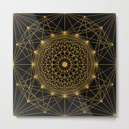 Geometric Circle Black and Gold Metal Print