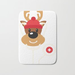 Cute Reindeer Nurse Christmas Bath Mat