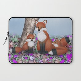 fox, cubs and tufted titmice Laptop Sleeve