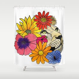 Lioness with flowers Shower Curtain