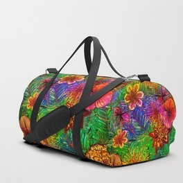 Tropical Heat-Colorful Floral Exotic Tropical Flower Pattern Duffle Bag