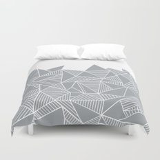 Abstract Mountain Grey on White Duvet Cover