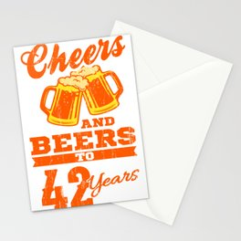 Cheers And Beers To 42nd Birthday Gift Idea Stationery Cards
