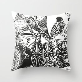 Calavera Cyclists | Day of the Dead | Dia de los Muertos | Skulls and Skeletons | Vintage Skeletons | Black and White |  Throw Pillow