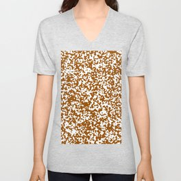 Small Spots - White and Brown Unisex V-Neck