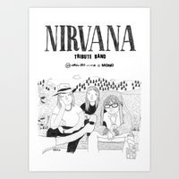 nirvana Art Prints featuring NIRVANA by millo