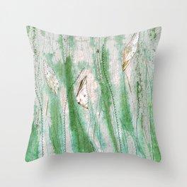 Spring garden in green and grey Throw Pillow