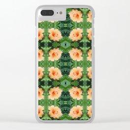 Orange Hibiscus Flower Pattern Clear iPhone Case