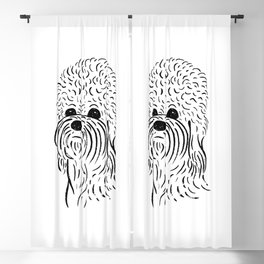 Dandie Dinmont Terrier (Black and White) Blackout Curtain