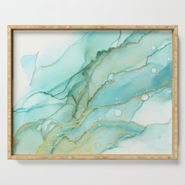 Magic Bloom Flowing Teal Blue Gold Serving Tray