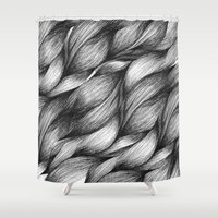 hair Shower Curtains featuring hair by Jevan Strudwick