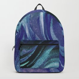 Abstract Teal Purple Black Glitter Marble Backpack