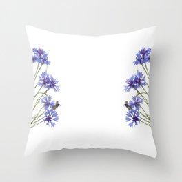 Slant blue cornflower flowers Throw Pillow