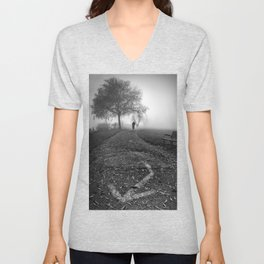 Cyclist in the fog Unisex V-Neck