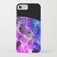 the moon iPhone & iPod Cases featuring Purple Blue Galaxy Moon  by 2sweet4words Designs