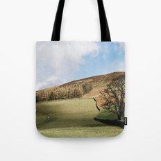 Sunlit tree and hillside. Edale, Derbyshire, UK. Tote Bag
